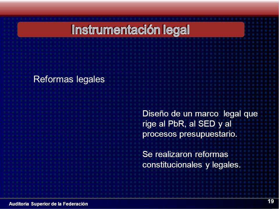 Auditoría Superior de la Federación 19 Diseño de un marco legal que rige al PbR, al SED y al procesos presupuestario.