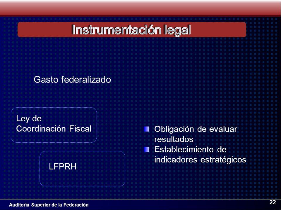 Auditoría Superior de la Federación 22 Gasto federalizado Obligación de evaluar resultados Establecimiento de indicadores estratégicos Ley de Coordinación Fiscal LFPRH