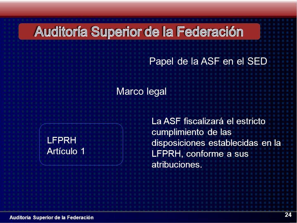 Auditoría Superior de la Federación 24 Papel de la ASF en el SED La ASF fiscalizará el estricto cumplimiento de las disposiciones establecidas en la LFPRH, conforme a sus atribuciones.