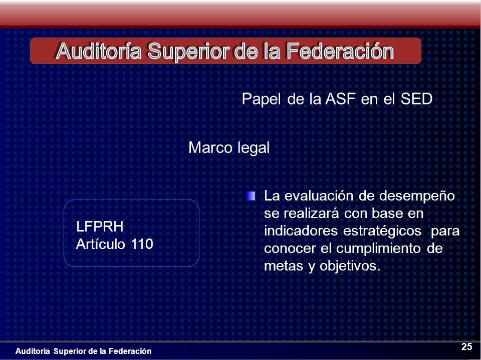 Auditoría Superior de la Federación 25 La evaluación de desempeño se realizará con base en indicadores estratégicos para conocer el cumplimiento de metas y objetivos.