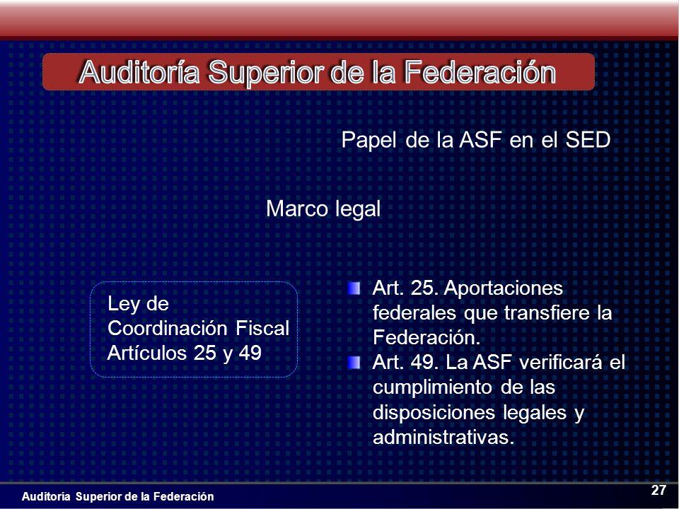 Auditoría Superior de la Federación 27 Art. 25.