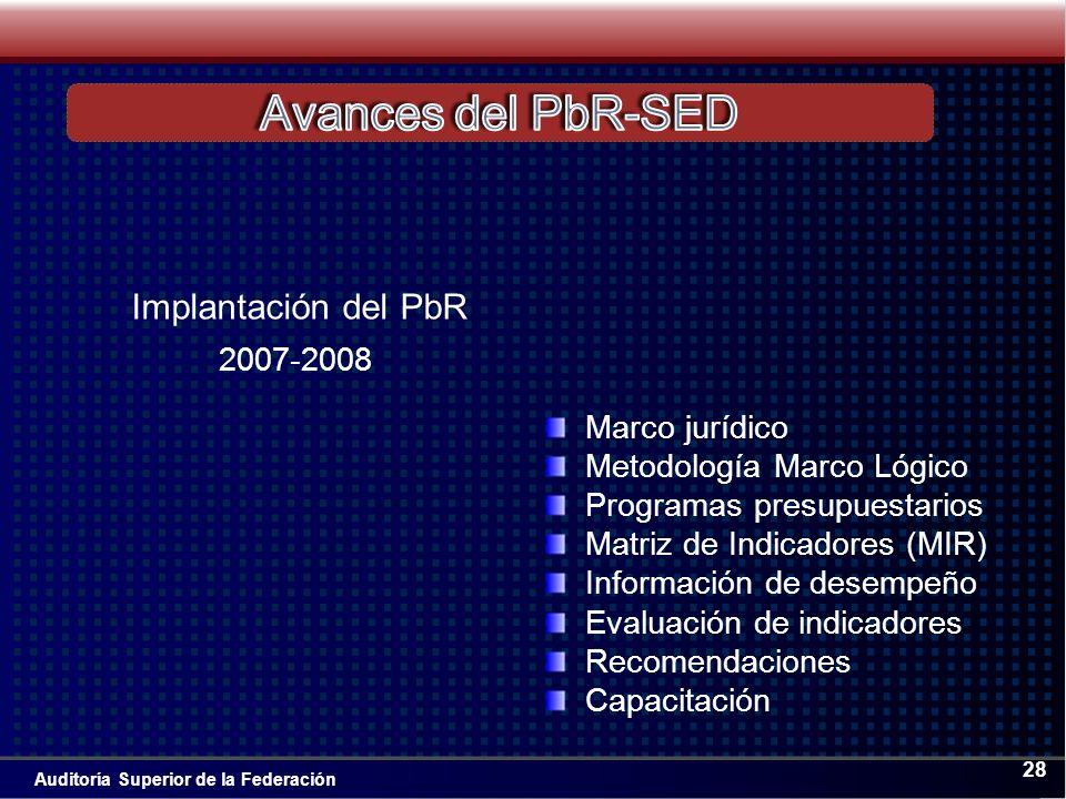 Auditoría Superior de la Federación 28 Marco jurídico Metodología Marco Lógico Programas presupuestarios Matriz de Indicadores (MIR) Información de desempeño Evaluación de indicadores Recomendaciones Capacitación 2007-2008 Implantación del PbR