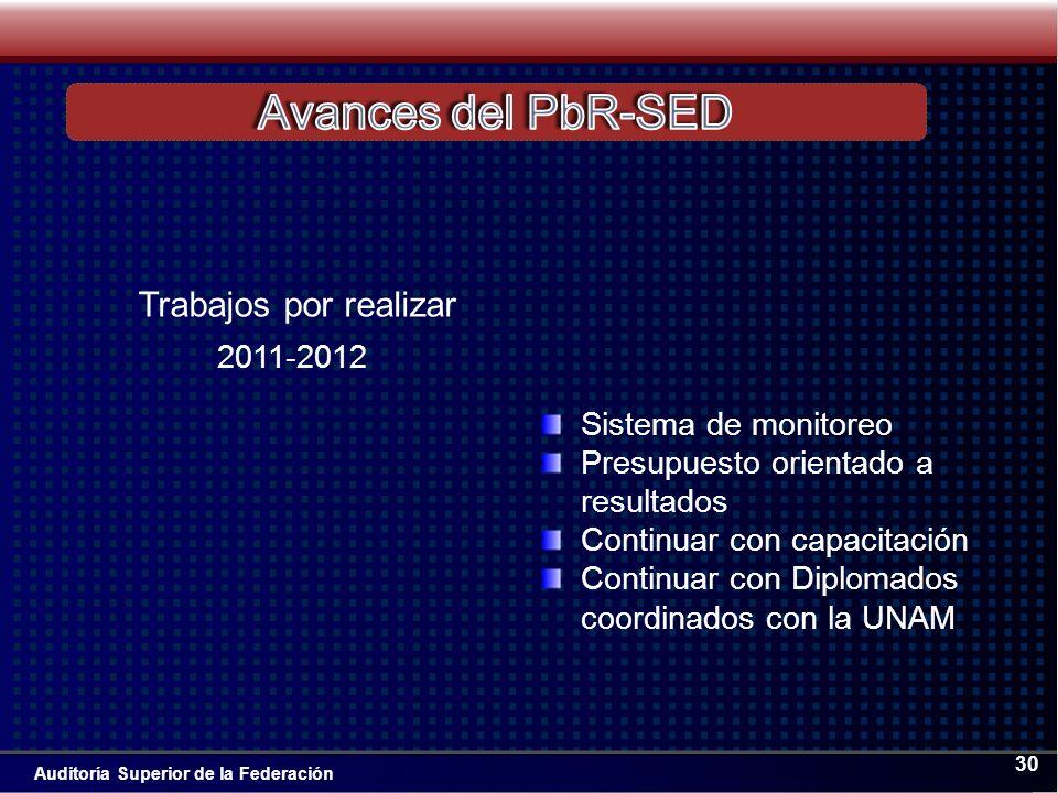 Auditoría Superior de la Federación 30 Sistema de monitoreo Presupuesto orientado a resultados Continuar con capacitación Continuar con Diplomados coordinados con la UNAM 2011-2012 Trabajos por realizar