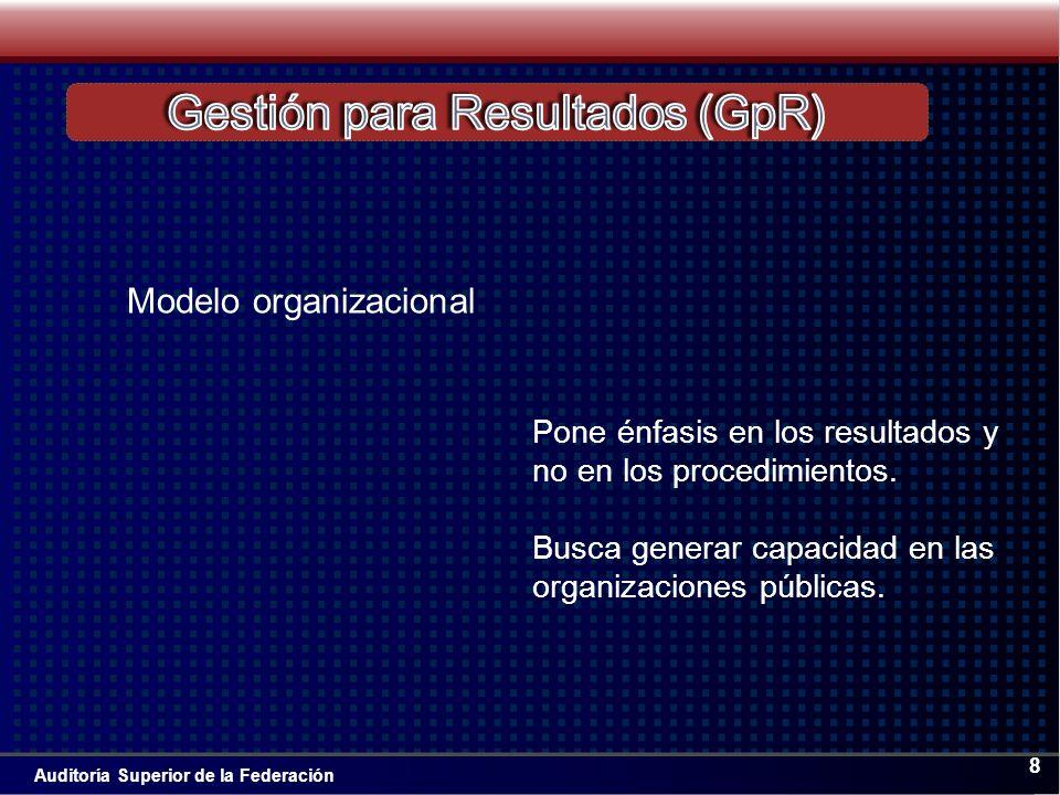 Auditoría Superior de la Federación 8 Pone énfasis en los resultados y no en los procedimientos.