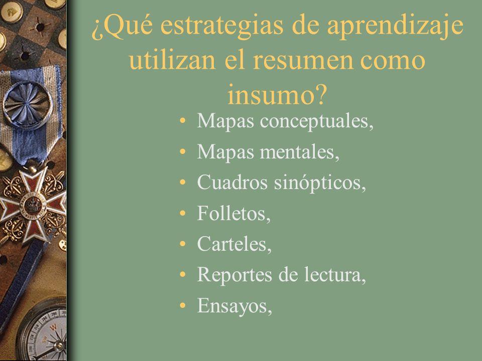 ¿Qué estrategias de aprendizaje utilizan el resumen como insumo?(2) Artículos, Planteamiento y resolución de problemas, Reseñas, Líneas del tiempo, Proyectos, Acordeones de estudio, Exposiciones, etc.
