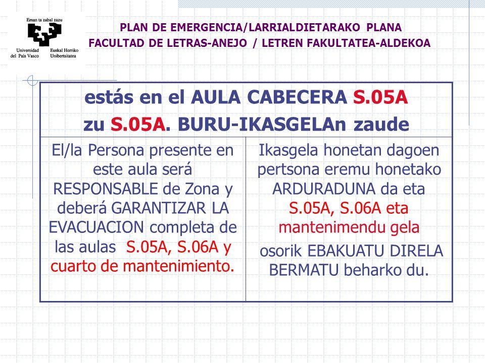 estás en el AULA CABECERA S.05A zu S.05A.