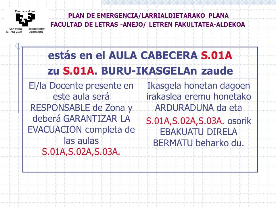 estás en el AULA CABECERA S.01A zu S.01A.