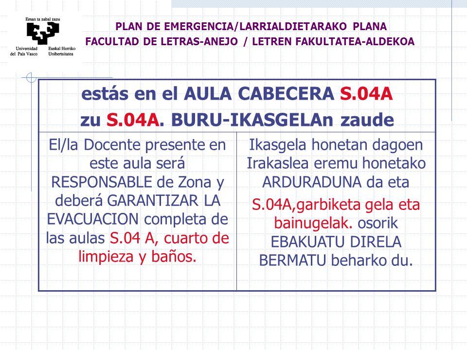 estás en el AULA CABECERA S.04A zu S.04A.