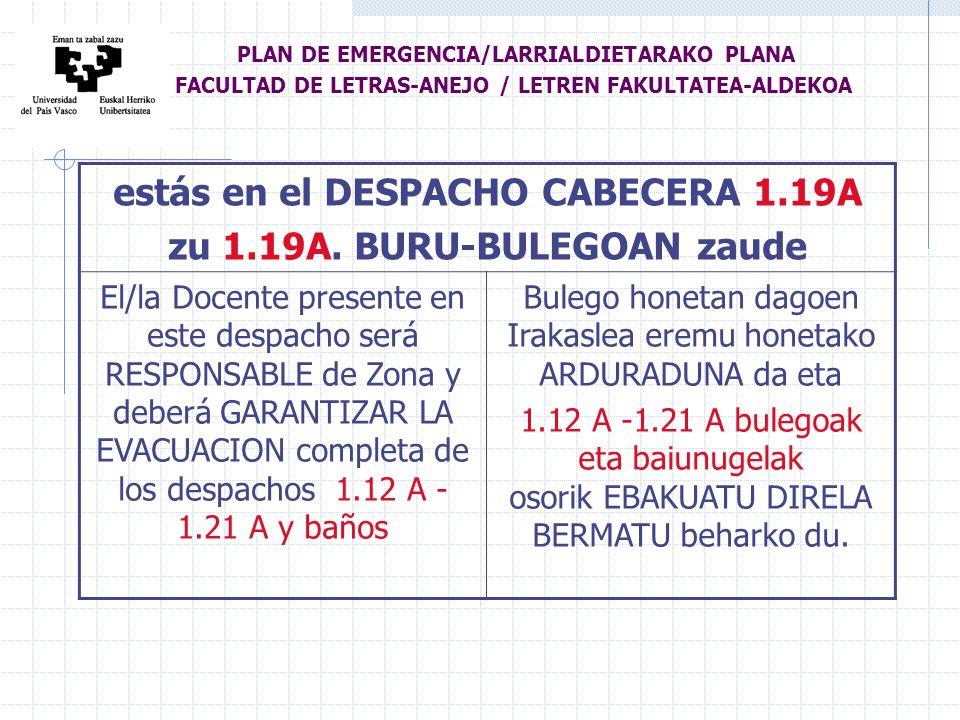 estás en el DESPACHO CABECERA 1.19A zu 1.19A.