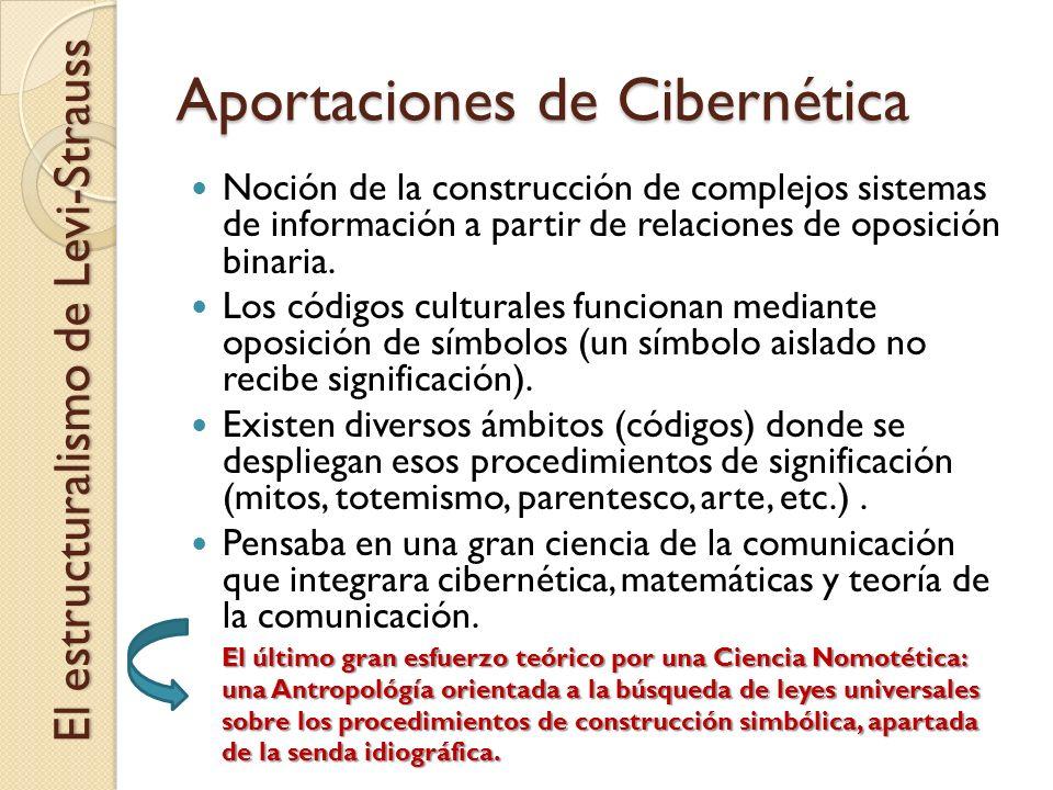 Aportaciones de Cibernética El estructuralismo de Levi-Strauss Noción de la construcción de complejos sistemas de información a partir de relaciones d