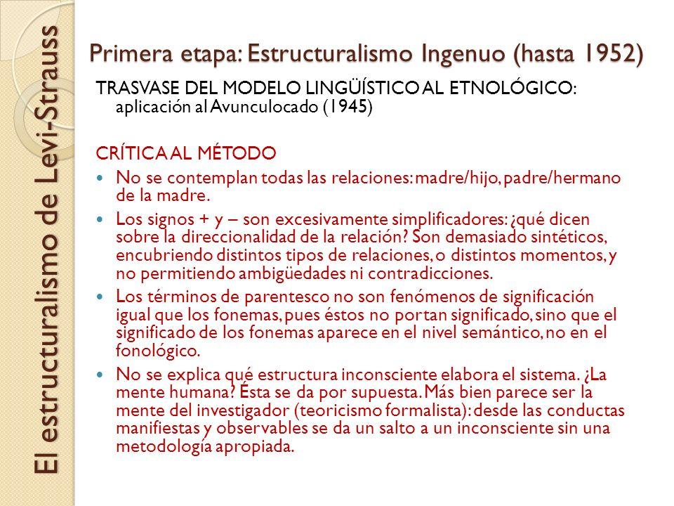 Primera etapa: Estructuralismo Ingenuo (hasta 1952) El estructuralismo de Levi-Strauss TRASVASE DEL MODELO LINGÜÍSTICO AL ETNOLÓGICO: aplicación al Av