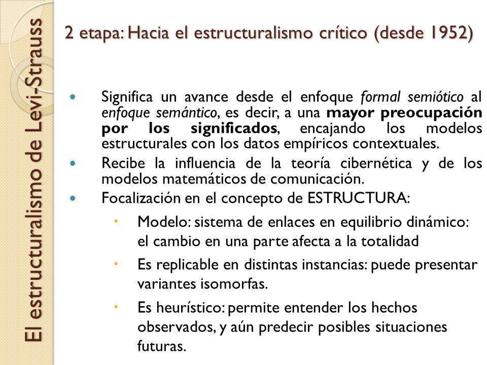 2 etapa: Hacia el estructuralismo crítico (desde 1952) El estructuralismo de Levi-Strauss Significa un avance desde el enfoque formal semiótico al enf