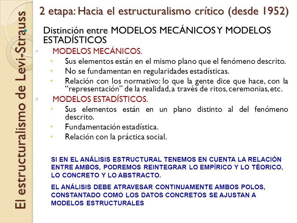 2 etapa: Hacia el estructuralismo crítico (desde 1952) El estructuralismo de Levi-Strauss Distinción entre MODELOS MECÁNICOS Y MODELOS ESTADÍSTICOS MO