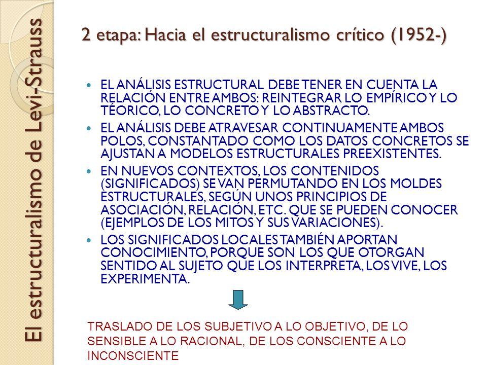 2 etapa: Hacia el estructuralismo crítico (1952-) EL ANÁLISIS ESTRUCTURAL DEBE TENER EN CUENTA LA RELACIÓN ENTRE AMBOS: REINTEGRAR LO EMPÍRICO Y LO TÉ
