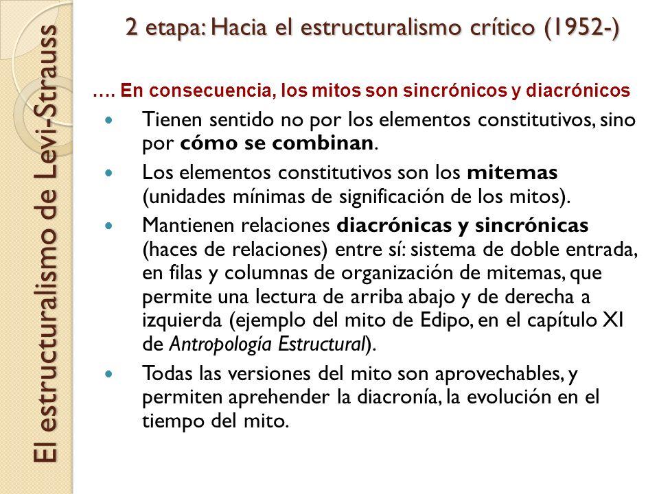 2 etapa: Hacia el estructuralismo crítico (1952-) Tienen sentido no por los elementos constitutivos, sino por cómo se combinan. Los elementos constitu