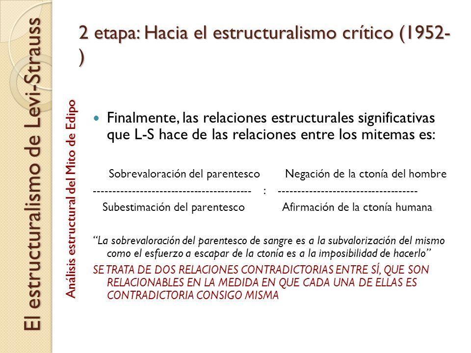 2 etapa: Hacia el estructuralismo crítico (1952- ) Finalmente, las relaciones estructurales significativas que L-S hace de las relaciones entre los mi