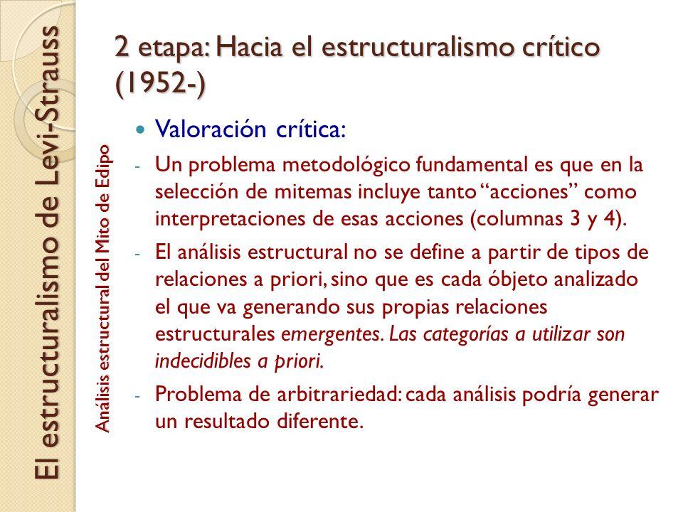 2 etapa: Hacia el estructuralismo crítico (1952-) Valoración crítica: - Un problema metodológico fundamental es que en la selección de mitemas incluye