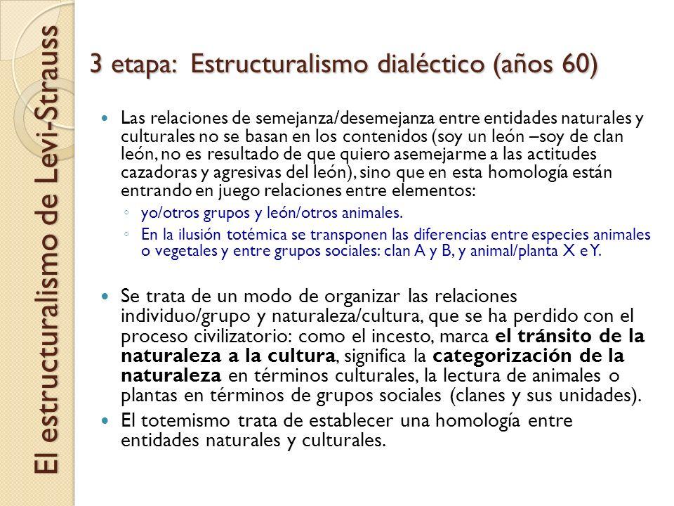 3 etapa: Estructuralismo dialéctico (años 60) El estructuralismo de Levi-Strauss Las relaciones de semejanza/desemejanza entre entidades naturales y c