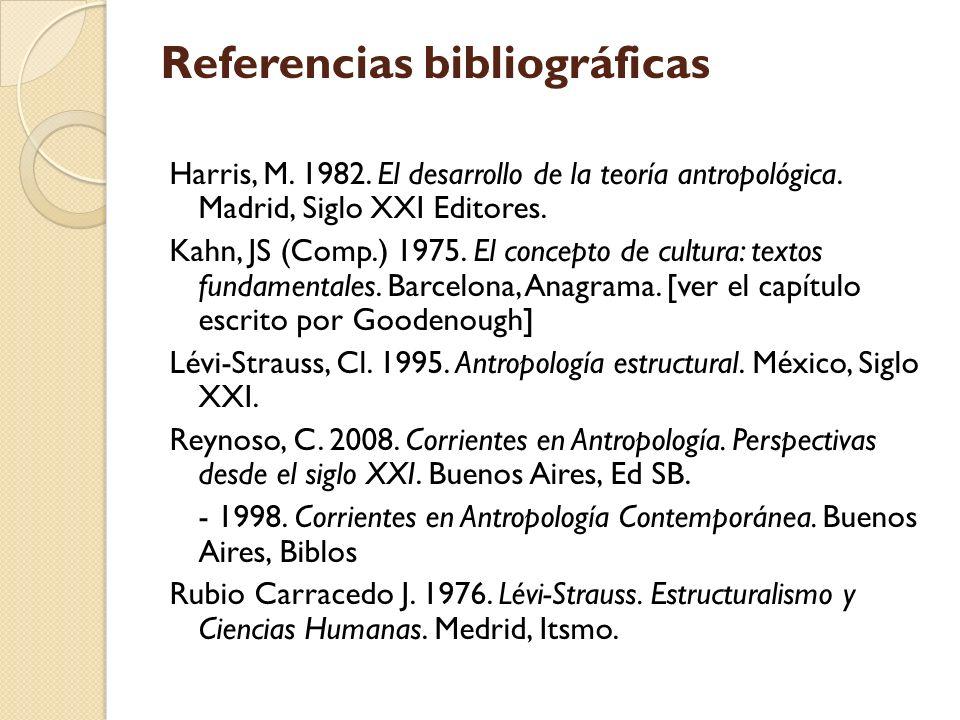 Referencias bibliográficas Harris, M. 1982. El desarrollo de la teoría antropológica. Madrid, Siglo XXI Editores. Kahn, JS (Comp.) 1975. El concepto d