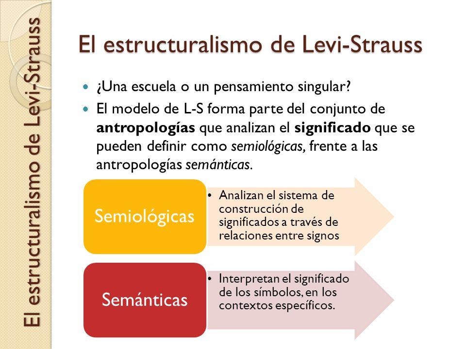 El estructuralismo de Levi-Strauss ¿Una escuela o un pensamiento singular? El modelo de L-S forma parte del conjunto de antropologías que analizan el