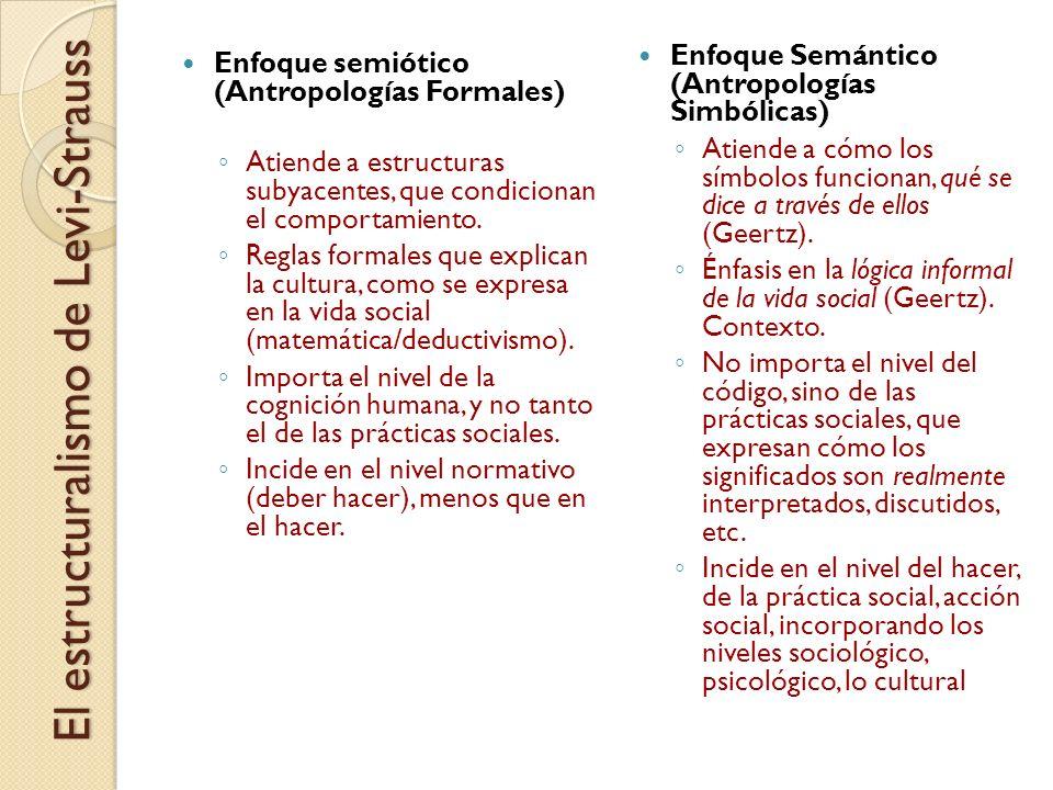 Enfoque semiótico (Antropologías Formales) Atiende a estructuras subyacentes, que condicionan el comportamiento. Reglas formales que explican la cultu