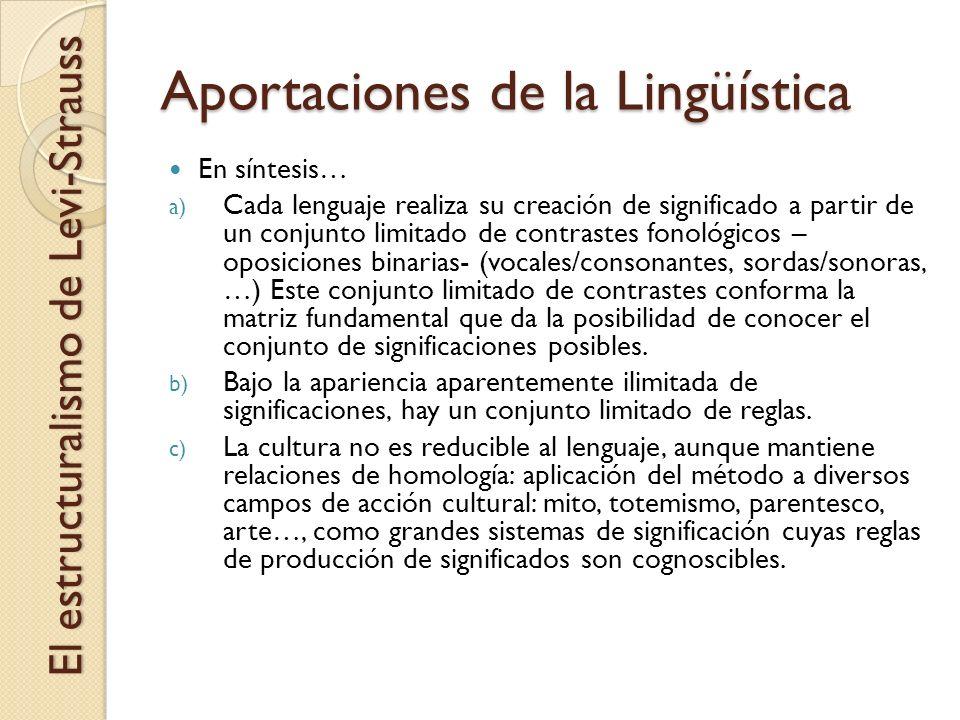 Aportaciones de la Lingüística El estructuralismo de Levi-Strauss En síntesis… a) Cada lenguaje realiza su creación de significado a partir de un conj