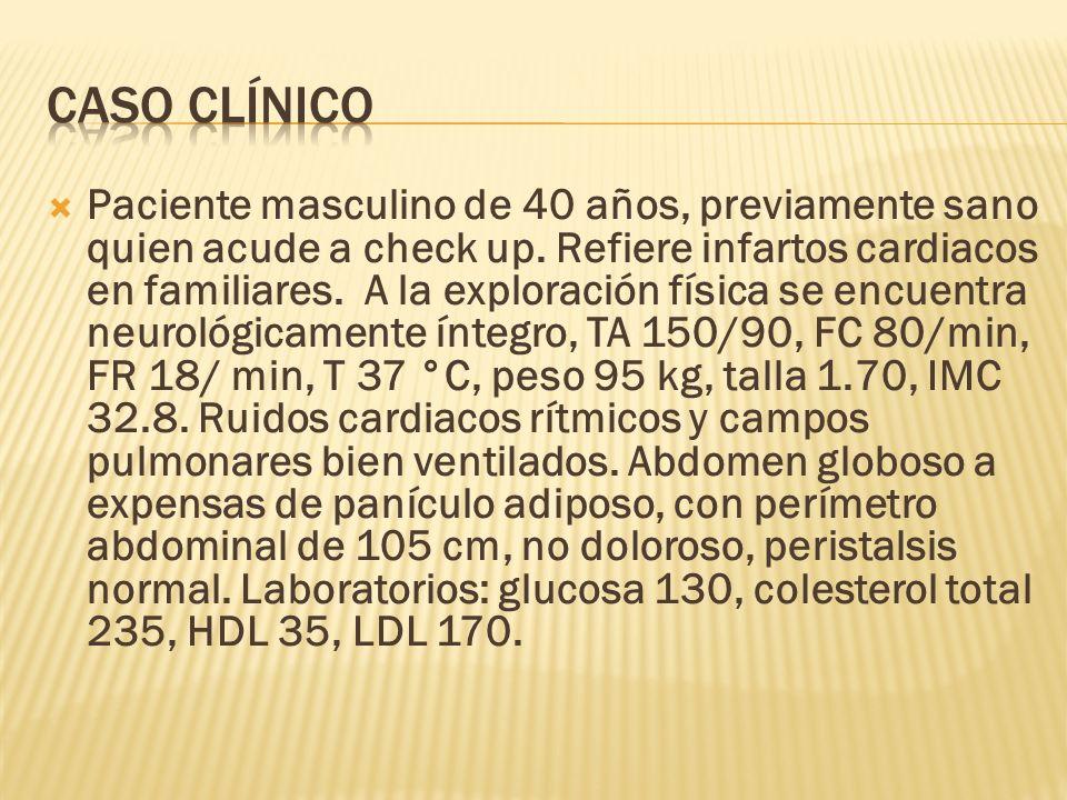 Paciente masculino de 40 años, previamente sano quien acude a check up. Refiere infartos cardiacos en familiares. A la exploración física se encuentra
