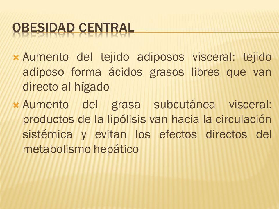 Aumento del tejido adiposos visceral: tejido adiposo forma ácidos grasos libres que van directo al hígado Aumento del grasa subcutánea visceral: produ