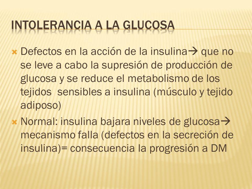 Defectos en la acción de la insulina que no se leve a cabo la supresión de producción de glucosa y se reduce el metabolismo de los tejidos sensibles a