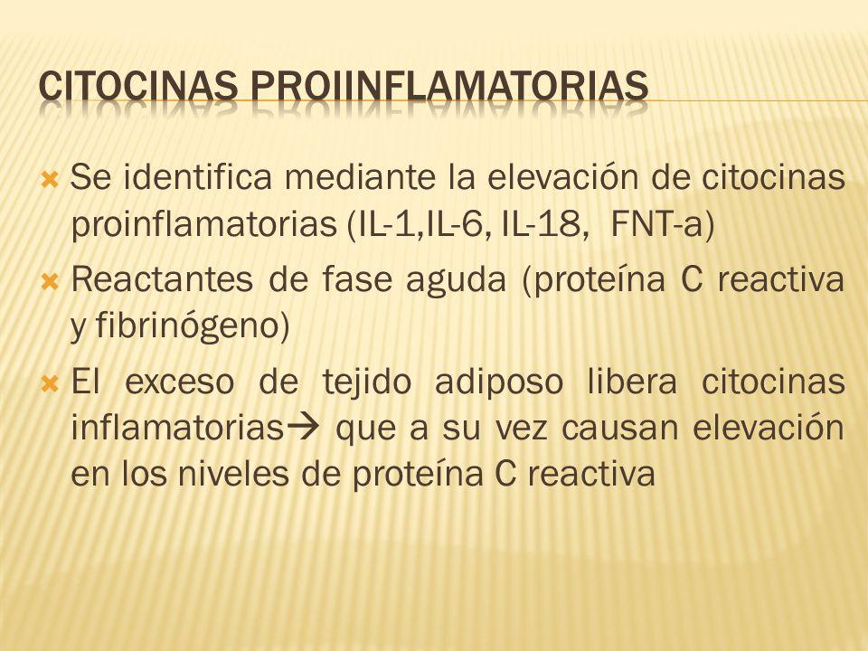 Se identifica mediante la elevación de citocinas proinflamatorias (IL-1,IL-6, IL-18, FNT-a) Reactantes de fase aguda (proteína C reactiva y fibrinógen