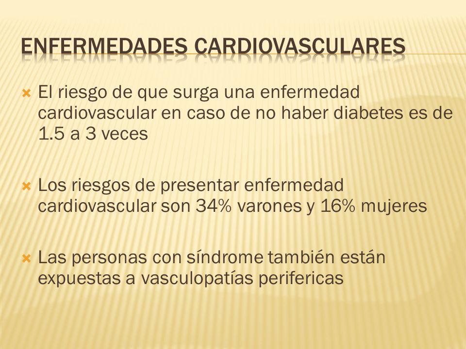 El riesgo de que surga una enfermedad cardiovascular en caso de no haber diabetes es de 1.5 a 3 veces Los riesgos de presentar enfermedad cardiovascul