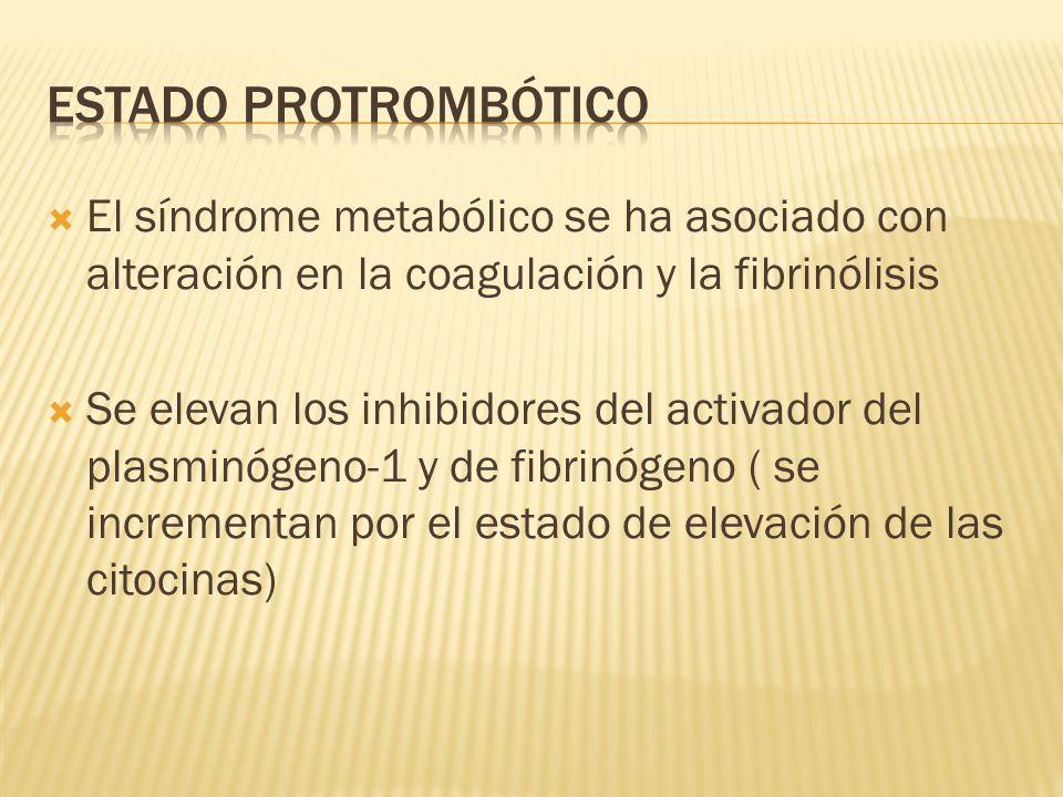 El síndrome metabólico se ha asociado con alteración en la coagulación y la fibrinólisis Se elevan los inhibidores del activador del plasminógeno-1 y