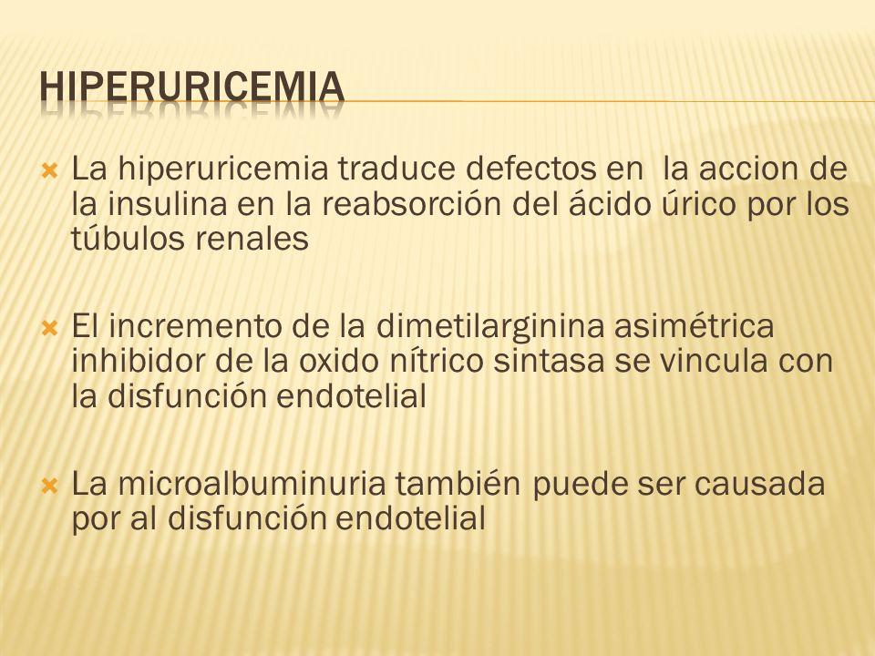 La hiperuricemia traduce defectos en la accion de la insulina en la reabsorción del ácido úrico por los túbulos renales El incremento de la dimetilarg