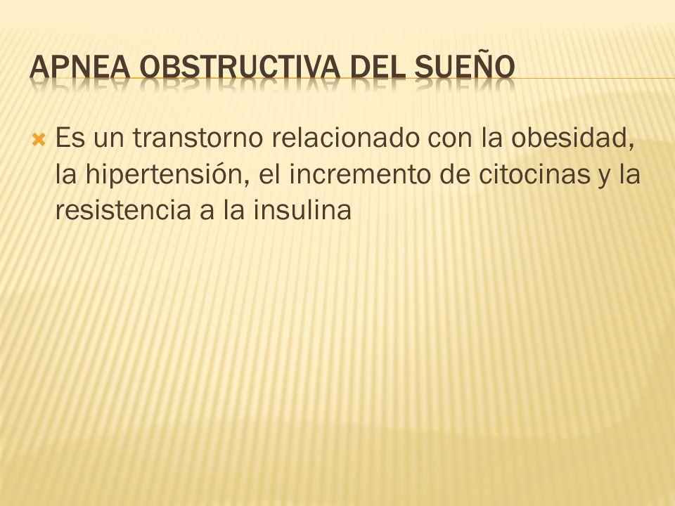 Es un transtorno relacionado con la obesidad, la hipertensión, el incremento de citocinas y la resistencia a la insulina