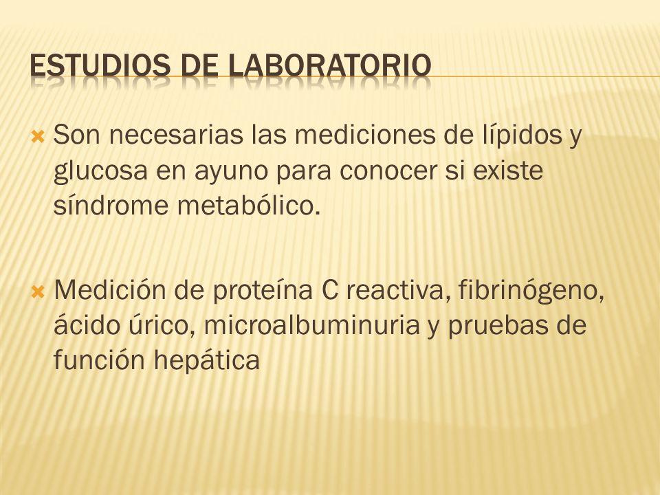 Son necesarias las mediciones de lípidos y glucosa en ayuno para conocer si existe síndrome metabólico. Medición de proteína C reactiva, fibrinógeno,