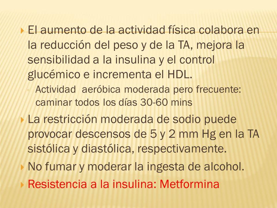 El aumento de la actividad física colabora en la reducción del peso y de la TA, mejora la sensibilidad a la insulina y el control glucémico e incremen
