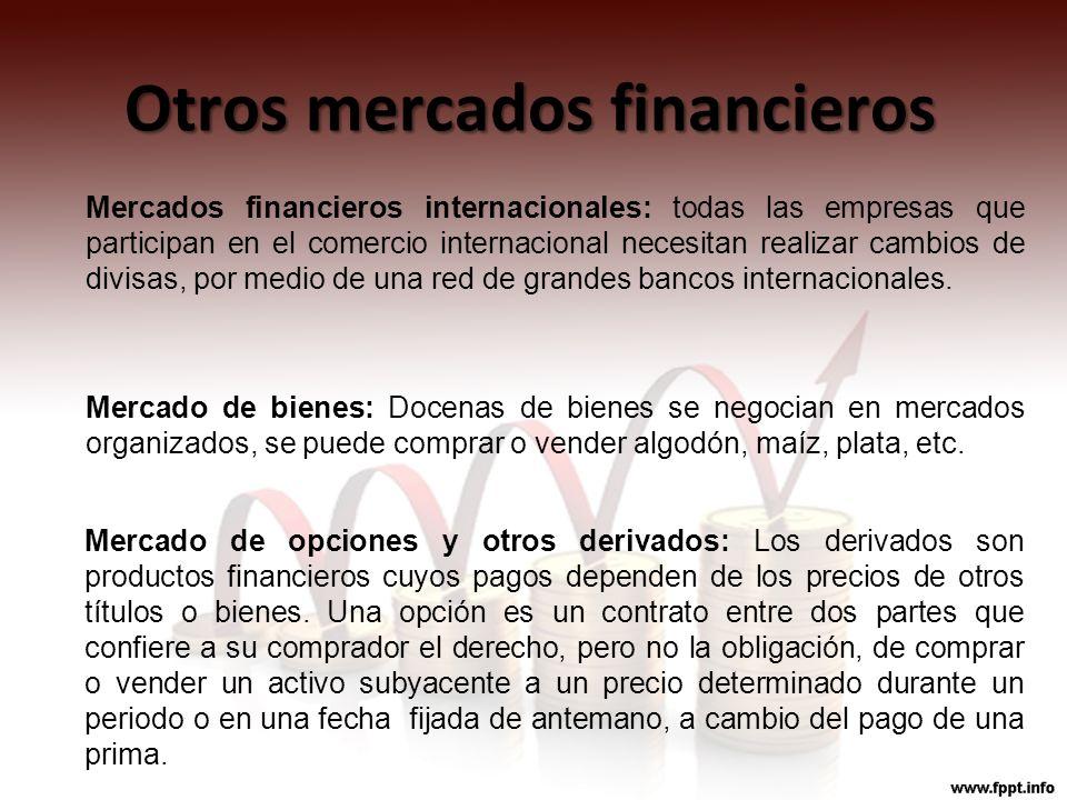 Otros mercados financieros Mercados financieros internacionales: todas las empresas que participan en el comercio internacional necesitan realizar cam