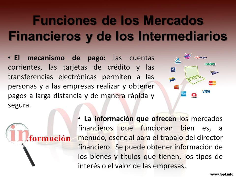Funciones de los Mercados Financieros y de los Intermediarios El mecanismo de pago: las cuentas corrientes, las tarjetas de crédito y las transferenci