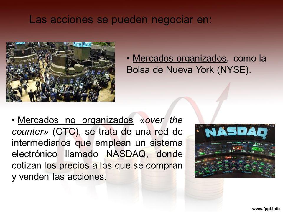 Las acciones se pueden negociar en: Mercados organizados, como la Bolsa de Nueva York (NYSE). Mercados no organizados «over the counter» (OTC), se tra