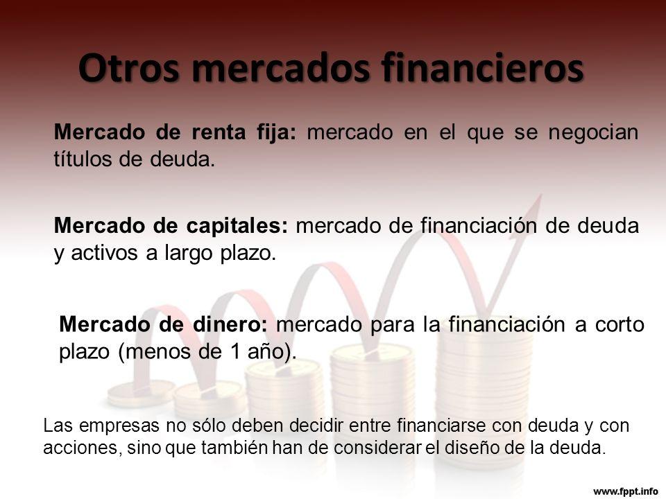 Otros mercados financieros Las empresas no sólo deben decidir entre financiarse con deuda y con acciones, sino que también han de considerar el diseño