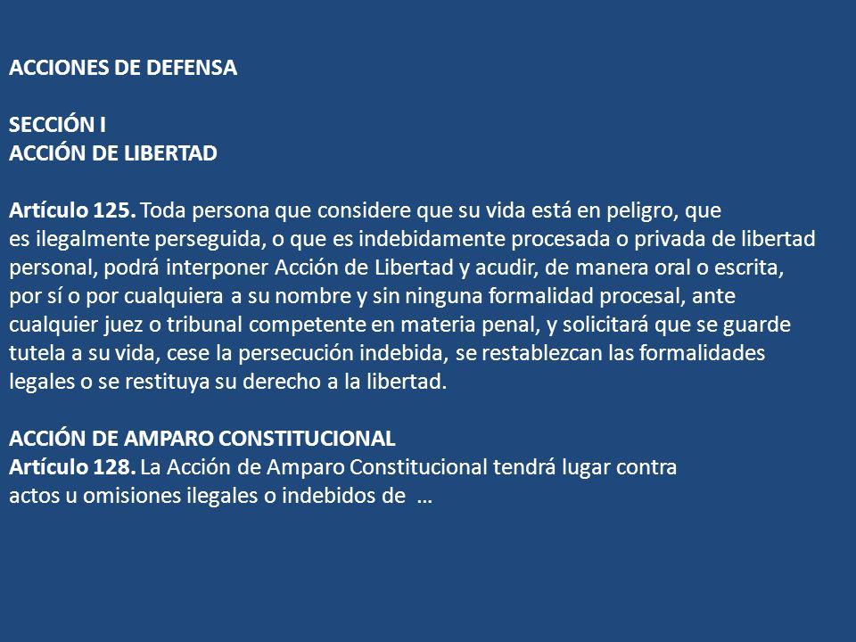 ACCIONES DE DEFENSA SECCIÓN I ACCIÓN DE LIBERTAD Artículo 125. Toda persona que considere que su vida está en peligro, que es ilegalmente perseguida,