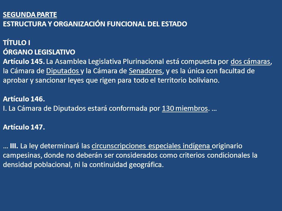 SEGUNDA PARTE ESTRUCTURA Y ORGANIZACIÓN FUNCIONAL DEL ESTADO TÍTULO I ÓRGANO LEGISLATIVO Artículo 145. La Asamblea Legislativa Plurinacional está comp