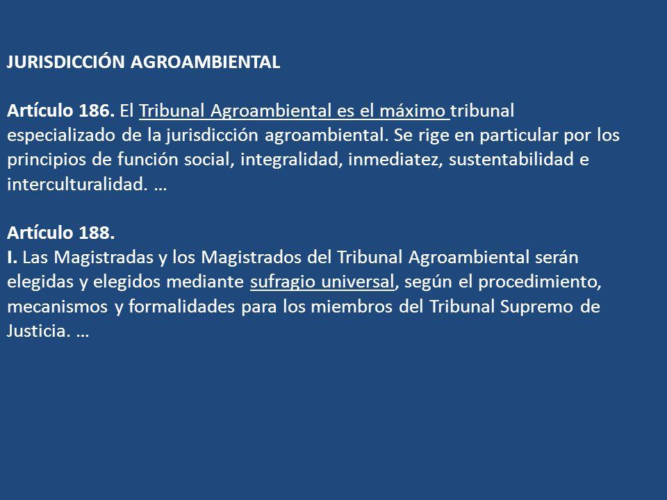 JURISDICCIÓN AGROAMBIENTAL Artículo 186. El Tribunal Agroambiental es el máximo tribunal especializado de la jurisdicción agroambiental. Se rige en pa