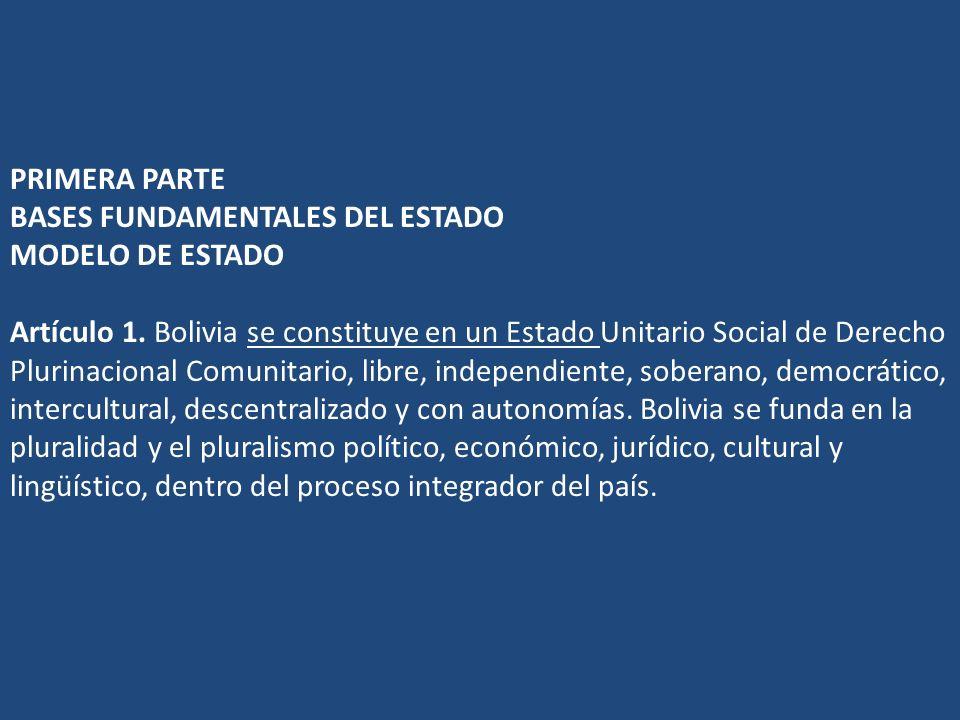 PRIMERA PARTE BASES FUNDAMENTALES DEL ESTADO MODELO DE ESTADO Artículo 1. Bolivia se constituye en un Estado Unitario Social de Derecho Plurinacional