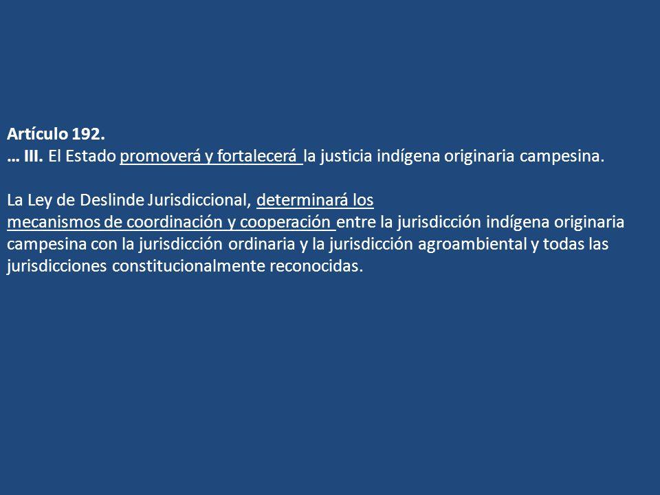 Artículo 192. … III. El Estado promoverá y fortalecerá la justicia indígena originaria campesina. La Ley de Deslinde Jurisdiccional, determinará los m
