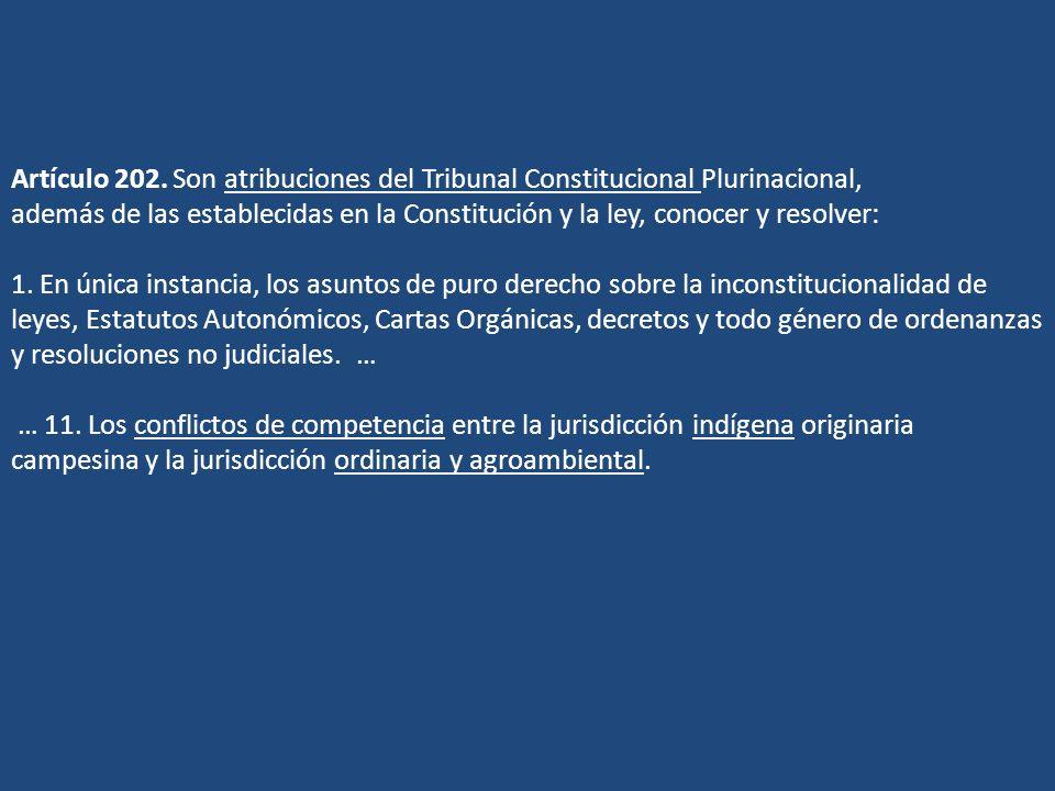 Artículo 202. Son atribuciones del Tribunal Constitucional Plurinacional, además de las establecidas en la Constitución y la ley, conocer y resolver: