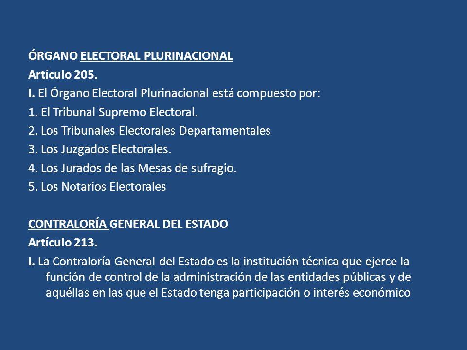 ÓRGANO ELECTORAL PLURINACIONAL Artículo 205. I. El Órgano Electoral Plurinacional está compuesto por: 1. El Tribunal Supremo Electoral. 2. Los Tribuna