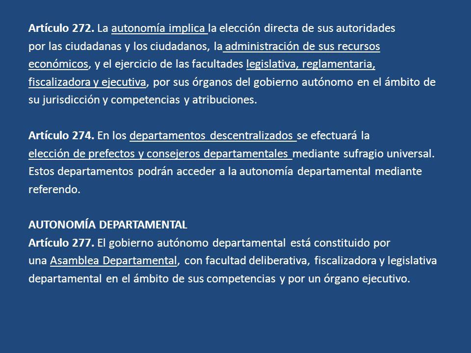 Artículo 272. La autonomía implica la elección directa de sus autoridades por las ciudadanas y los ciudadanos, la administración de sus recursos econó