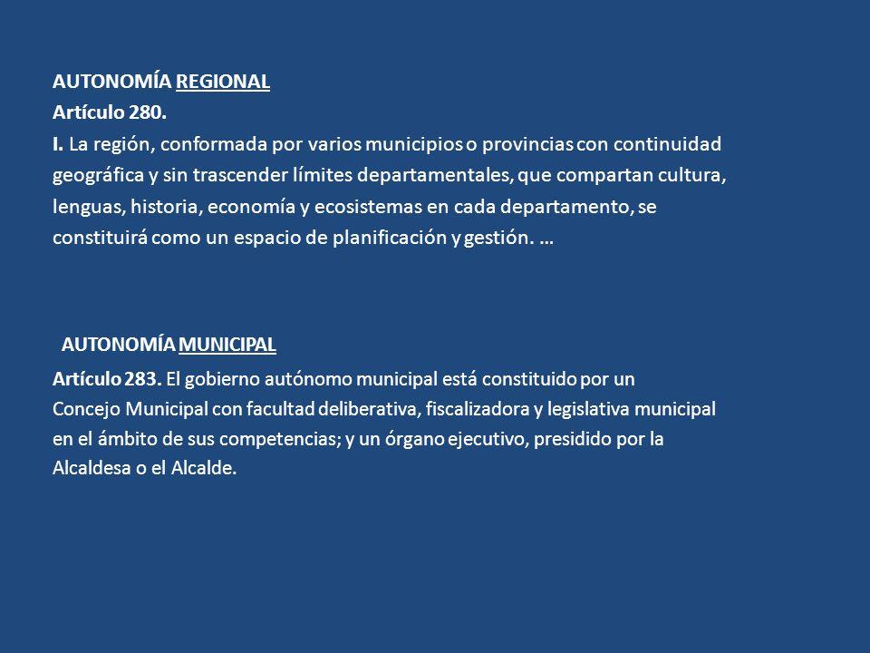 AUTONOMÍA REGIONAL Artículo 280. I. La región, conformada por varios municipios o provincias con continuidad geográfica y sin trascender límites depar