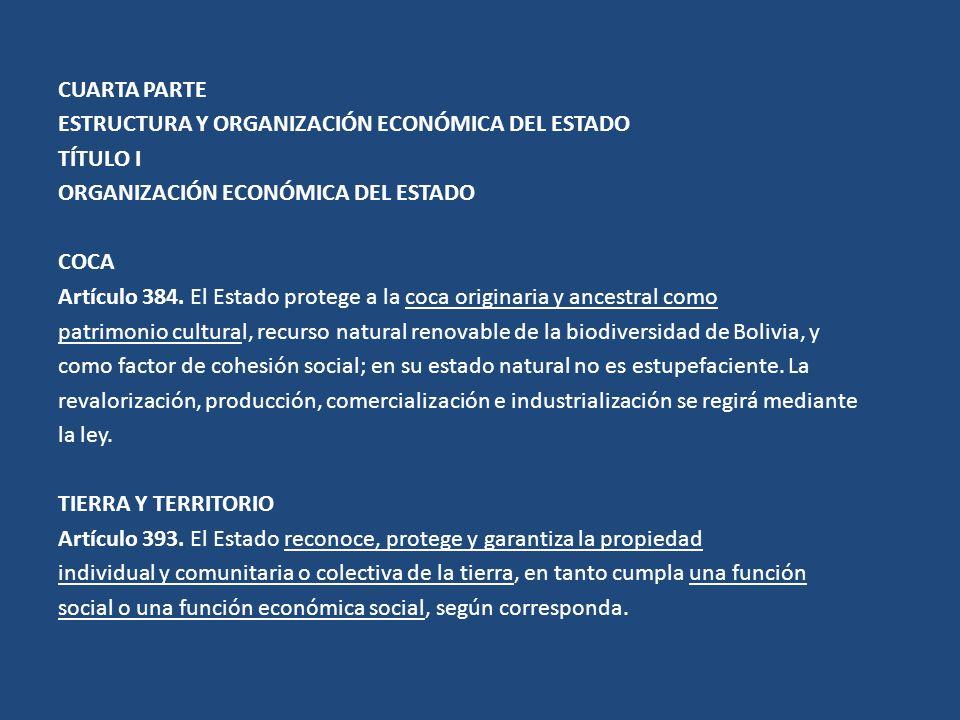 CUARTA PARTE ESTRUCTURA Y ORGANIZACIÓN ECONÓMICA DEL ESTADO TÍTULO I ORGANIZACIÓN ECONÓMICA DEL ESTADO COCA Artículo 384. El Estado protege a la coca